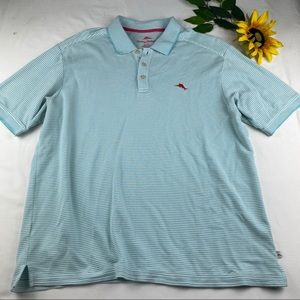 Tommy Bahama Polo Shirt Light Blue White Striped